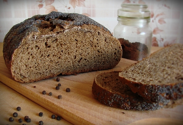 Recipe of bread made from wheat and rye flour coffee for bakery